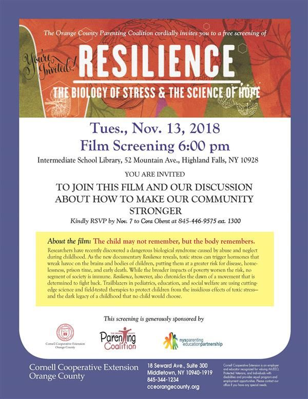 Upcoming Event: A film screening of Resilience